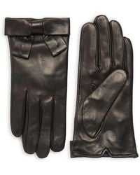 Kate Spade - Contrast Bow Leather Gloves - Lyst