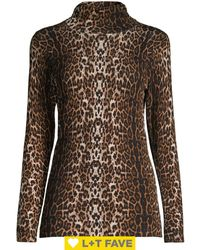 Lord + Taylor Leopard-print Turtleneck - Brown