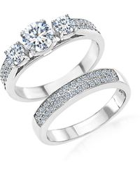 Lord + Taylor Rhodium-plated Sterling Silver And Cubic Zirconia Engagement And Wedding Band 2-piece Ring Set - Metallic