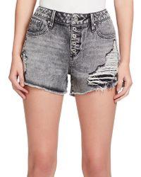 Jessica Simpson - Ranger Distressed Denim Shorts - Lyst