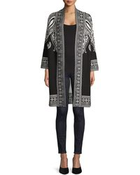 Lord + Taylor Printed Open-front Cardigan - Black