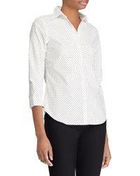 Lauren by Ralph Lauren - No-iron Dotted Cotton Shirt - Lyst