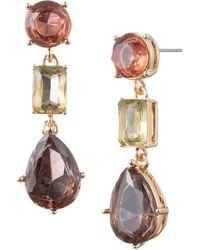Anne Klein - Faceted Double Drop Earrings - Lyst
