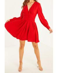 Quiz Crinkle Ruched Waist Skater Dress - Red
