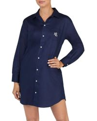 Lauren by Ralph Lauren - Logo Cotton Dobby Sleepshirt - Lyst
