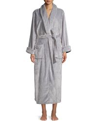 Lord + Taylor Long Plush Robe - Gray