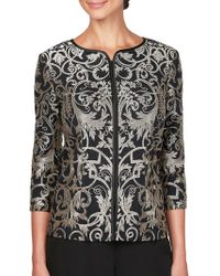 Alex Evenings - Stretch Tulle Embroidered Jacket - Lyst
