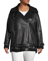 Avec Les Filles - Plus Faux Fur-trimmed Moto Jacket - Lyst