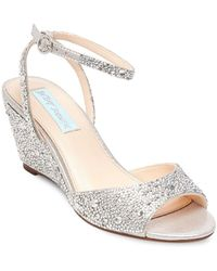 Betsey Johnson - Blue Elora Embellished Ankle-strap Wedge Sandals - Lyst