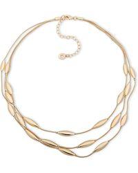 Anne Klein - Crystal Layered Necklace - Lyst