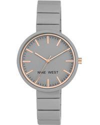 Nine West Grey Dial Analog Rubber Bracelet Watch - Gray