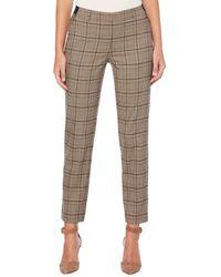 Rafaella Petite High-waist Plaid Ankle Trousers - Brown
