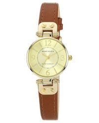 Anne Klein Ladies Tan And Gold Mini Lug Watch - Brown