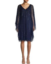 Adrianna Papell Embellished Sheer Party Dress - Blue