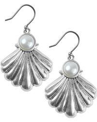 Lucky Brand Turkish Riviera Silvertone And Faux Pearl Drop Earrings - Metallic