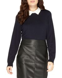 Dorothy Perkins - Embellished Collar Sweater - Lyst