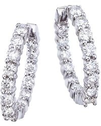 Roberto Coin - Diamond And 18k White Gold Inside-out Hoop Earrings - Lyst