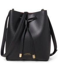 Lauren by Ralph Lauren Dryden Drawstring Leather Mini Bucket Bag - Black