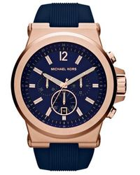 Michael Kors Dylan Rose Goldtone & Silicone Strap Chronograph Watch - Blue