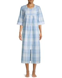 Miss Elaine Printed Zip Front Robe - Blue