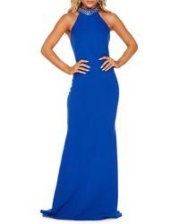 Quiz Embellished Halter Gown - Blue