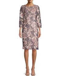 Adrianna Papell Boat-neck Floral Embroidered Cocktail Dress - Gray