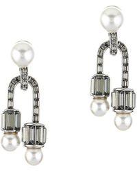 Oscar de la Renta Art Deco Earrings - Metallic