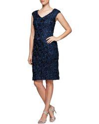 Alex Evenings - V-neck Rosette Shift Dress - Lyst