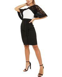 Quiz Scuba Crepe Lace Batwing Sleeve Midi Dress - Black