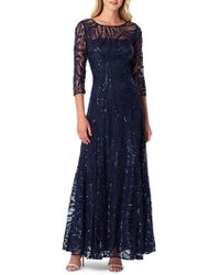 Tahari - Embellished Three-quarter Sleeved Gown - Lyst