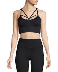 Betsey Johnson - Ribbed Strappy Sports Bra - Lyst
