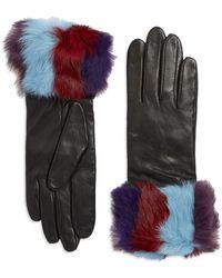 Lord & Taylor - Rabbit Fur Cuff Leather Gloves - Lyst