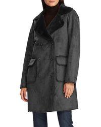 Lauren by Ralph Lauren Faux-fur Double Breasted Coat - Black