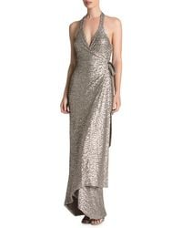 Dress the Population - Giselle Plunging Sequin Wrap Gown - Lyst