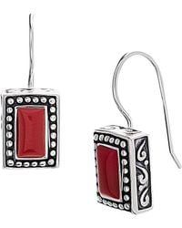 Lord & Taylor - 925 Sterling Silver Rectangular Beaded Drop Earrings - Lyst