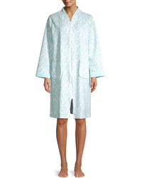 Miss Elaine Floral Quilted Cotton-blend Robe - Blue