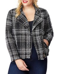 REBEL WILSON X ANGELS Plus Plaid Fringe Tweed Moto Jacket - Black
