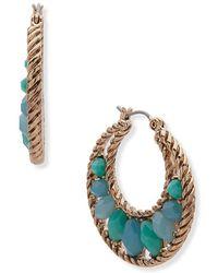 Anne Klein - Faceted Stone Hoop Earrings - Lyst
