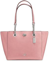 COACH - Pebble Leather Turnlock Chain Tote - Lyst