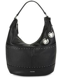Calvin Klein - Studded Leather Hobo Bag - Lyst