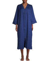 Miss Elaine Printed Embroidered Robe - Blue
