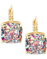 Kate Spade - Small Square Glitter Leverback Earrings - Lyst
