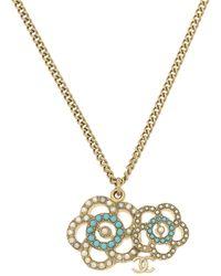 Chanel Camellia Faux Pearl Necklace - Metallic