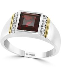 Effy Gento Garnet And Diamond Sterling Silver And 14k Yellow Gold Ring - Metallic