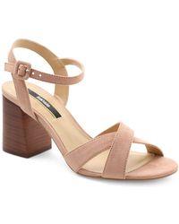 Kensie - Exalia Block Heel Crisscross Sandals - Lyst