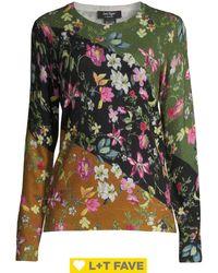 Lord + Taylor Floral Colorblock Cashmere Jumper - Black