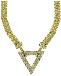 Lord + Taylor - Cubic Zirconia And Goldtone Sterling Silver Triangle Necklace - Lyst