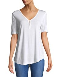 Lord & Taylor - V-neck Henley Tee - Lyst