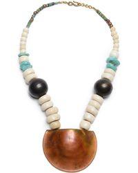 Robert Lee Morris Turquoise Beaded Necklace - Brown