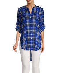 Calvin Klein Plaid High-low Tunic - Blue